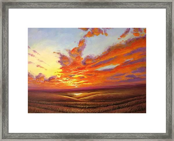 Fiery Flint Hills Sky Framed Print