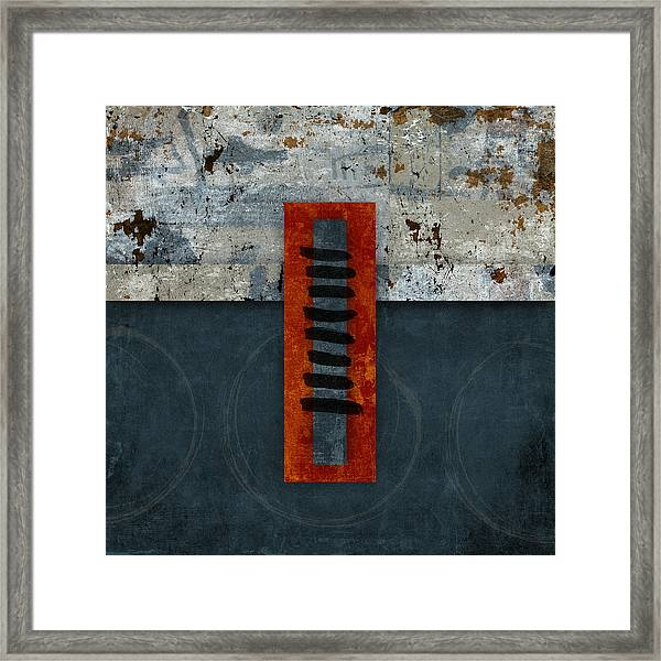 Fiery Red And Indigo One Of Two Framed Print