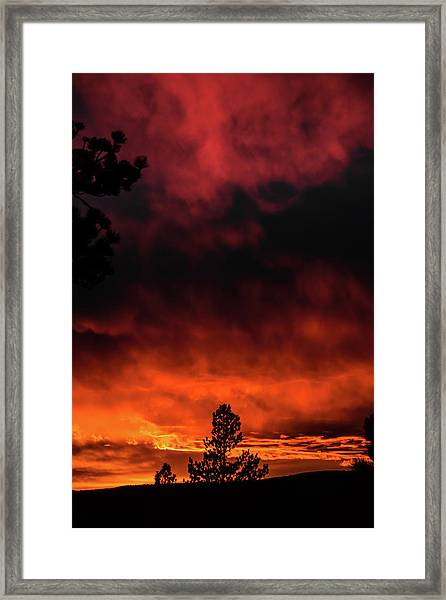 Framed Print featuring the photograph Fiery Sky by Jason Coward