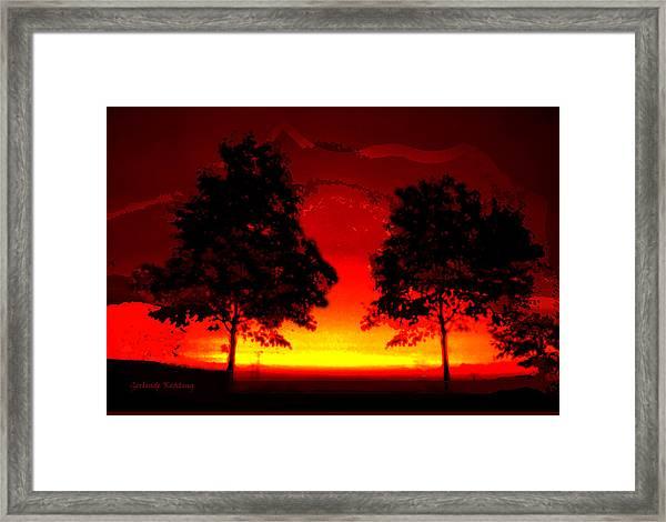 Fiery Sundown Framed Print