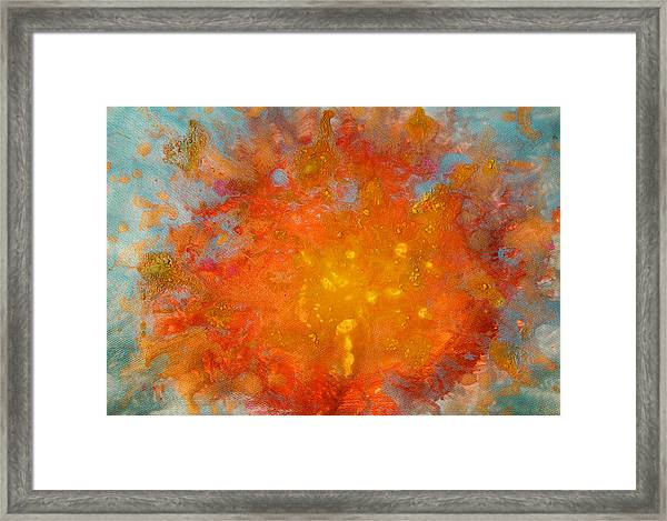 Fiery Sunset Abstract Painting Framed Print