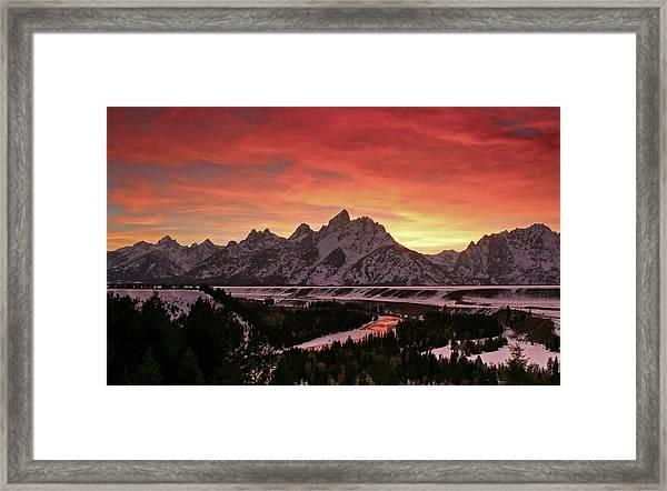 Fiery Sunset On Snake River Framed Print
