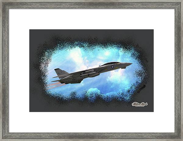 Framed Print featuring the photograph Fighter Jet F-14 In The Clouds by William Havle