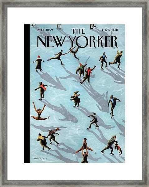 Figured Skaters Framed Print