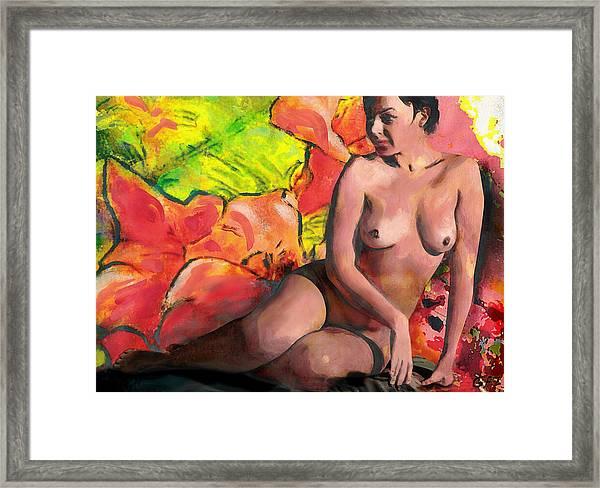 Fine Art Female Nude Anastasia And Daylilies Framed Print