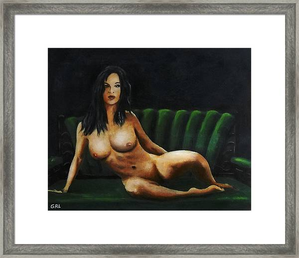 Framed Print featuring the painting Fine Art Female Nude Sara Seated 2011 by G Linsenmayer