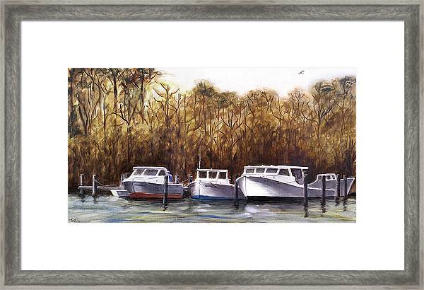 Framed Print featuring the painting Fine Art Traditional Oil Painting 3 Workboats Chesapeake Bay by G Linsenmayer
