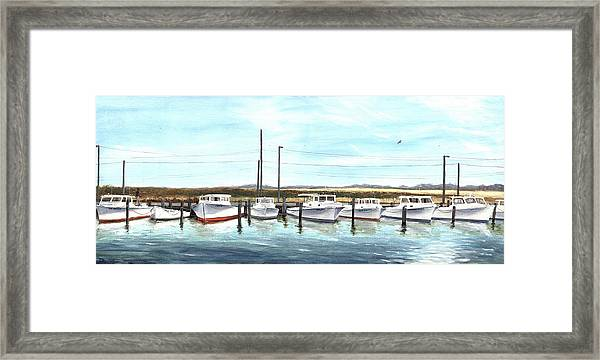 Framed Print featuring the painting Fine Art Workboats Kent Island Chesapeak Maryland Original Oil Painting by G Linsenmayer