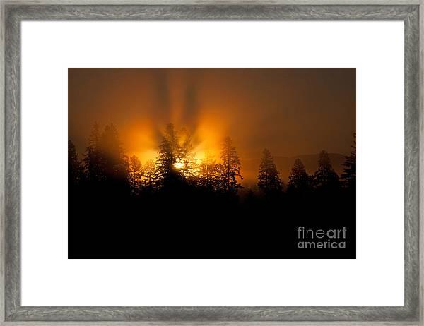 Fire And Fog Framed Print