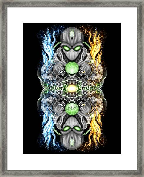 Fire And Ice Alien Time Machine Framed Print