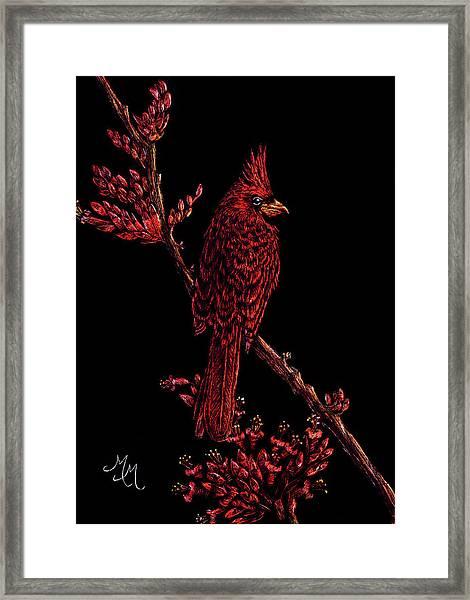 Fire Cardinal Framed Print