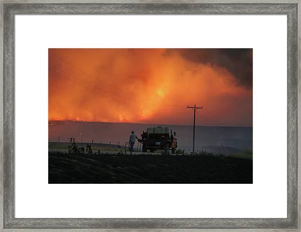 Framed Print featuring the photograph Sun Sets At Indian Canyon Fire by Bill Gabbert