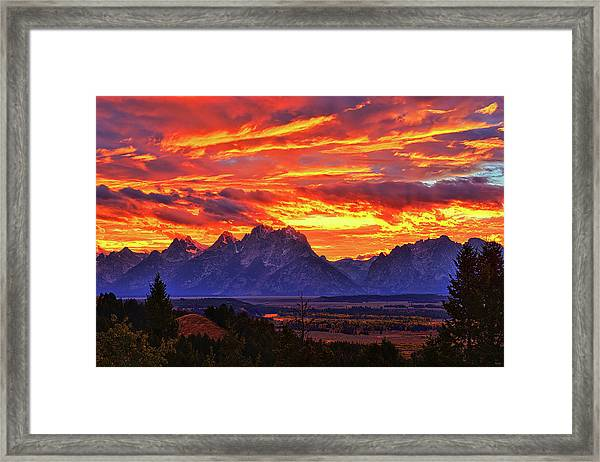 Fire In The Teton Sky Framed Print