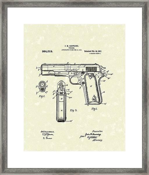 Firearm 1911 Patent Art Framed Print