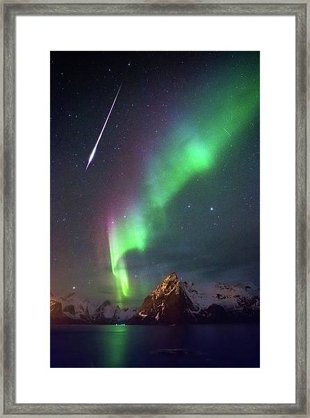 Fireball In The Aurora Framed Print