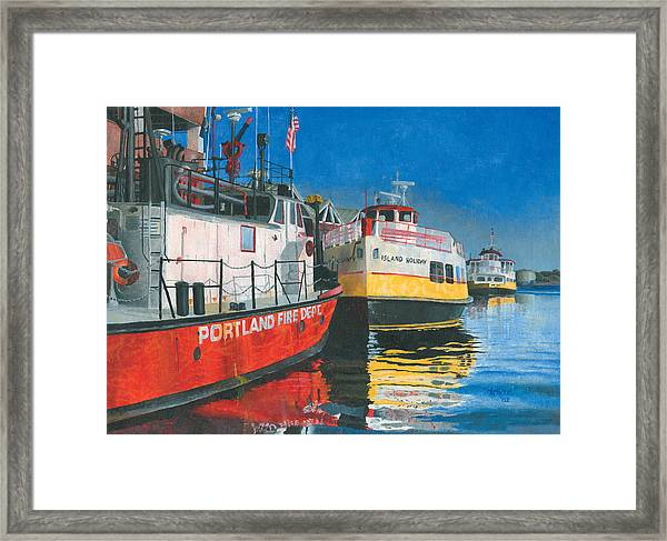Framed Print featuring the painting Fireboat And Ferries by Dominic White