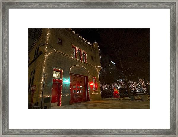 Firehouse In Xmas Lights Framed Print