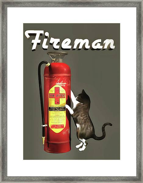 Framed Print featuring the painting Fireman by Jan Keteleer