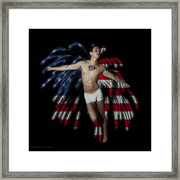 Framed Print featuring the photograph Firework Angel by Michael Taggart