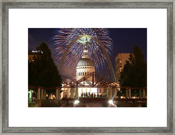 Fireworks At The Arch 1 Framed Print