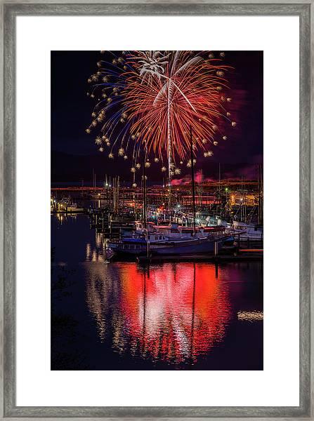 Fireworks At The Docks Framed Print