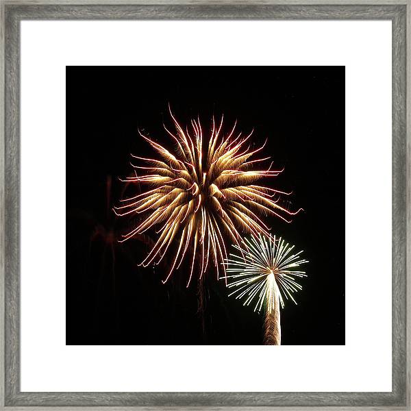 Fireworks From A Boat - 10 Framed Print