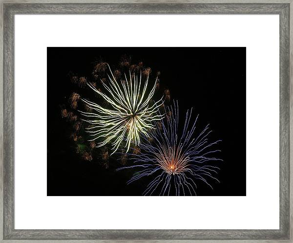 Fireworks From A Boat - 14 Framed Print