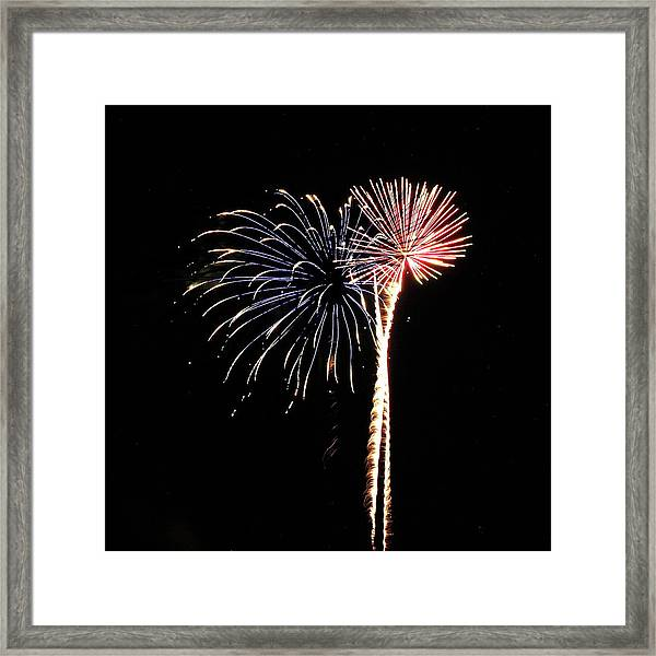 Fireworks From A Boat - 7 Framed Print