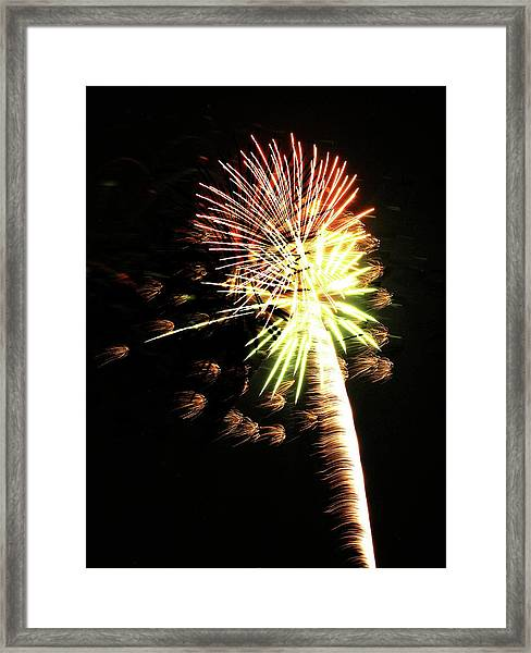 Fireworks From A Boat - 9 Framed Print