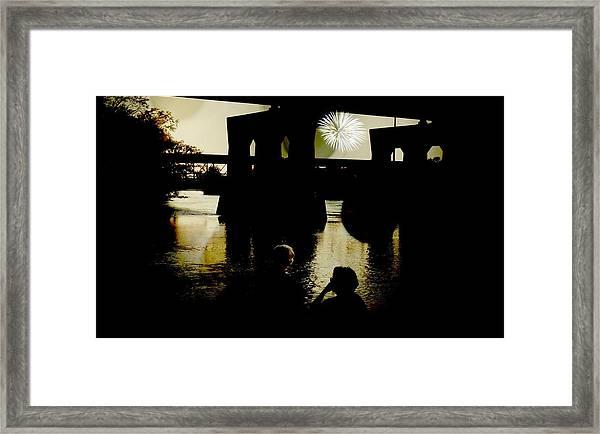 Fireworks On The River Framed Print