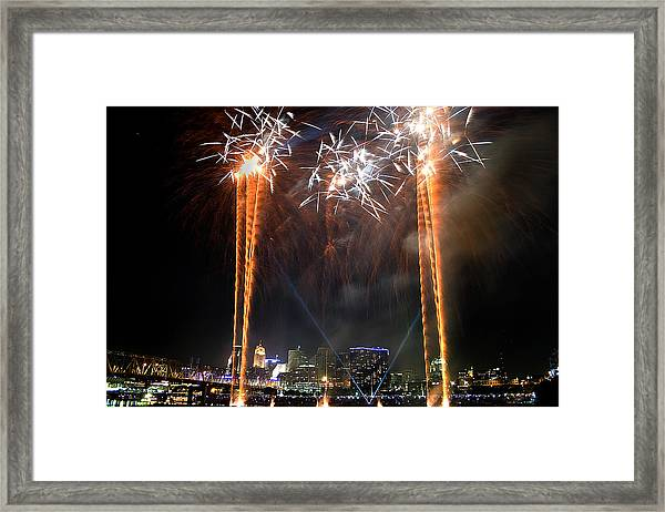 Fireworks Over Cincinnati Framed Print