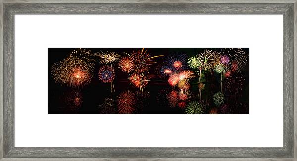 Fireworks Reflection In Water Panorama Framed Print