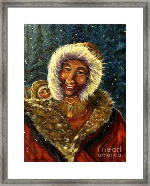 First Christmas Snow Framed Print