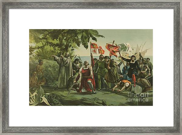 First Landing Of Columbus On The Shores Of The New World Framed Print