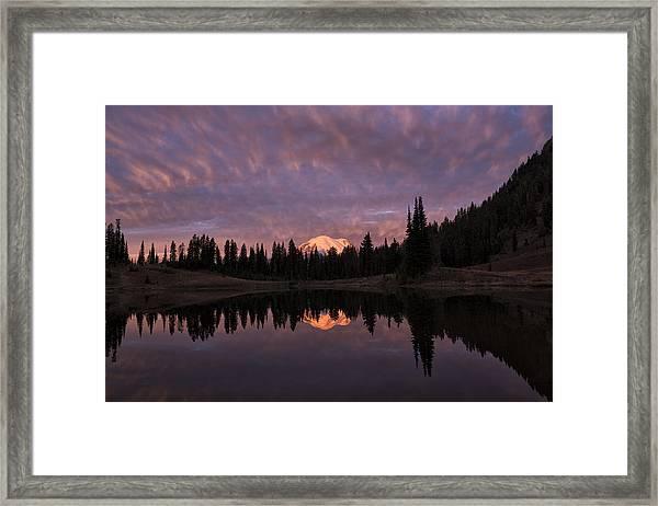 First Light On Mount Rainier Framed Print