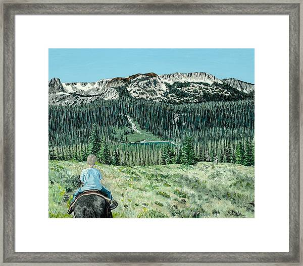 Framed Print featuring the painting First Ride by Kevin Daly