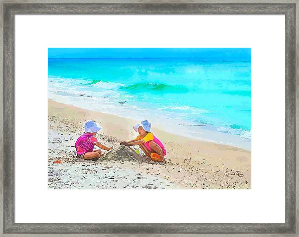 First Sand Castle Framed Print