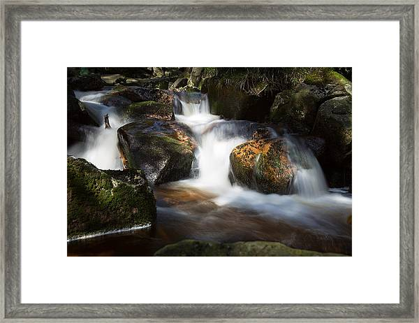 first spring sunlight on the Warme Bode, Harz Framed Print