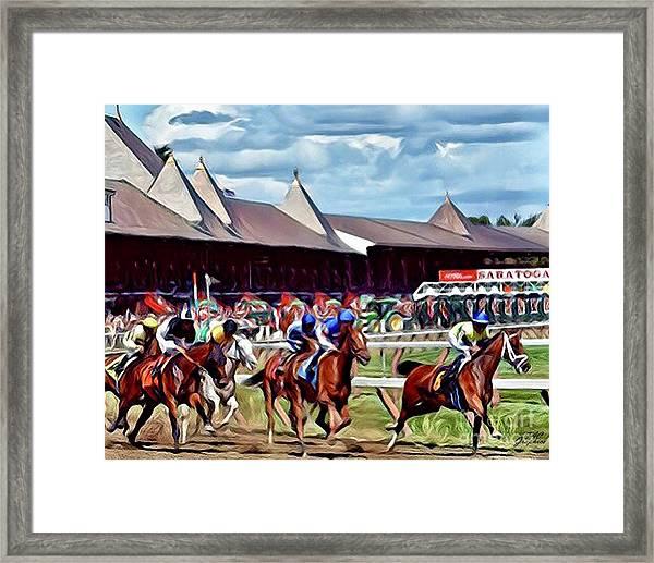 First Turn Saratoga Framed Print