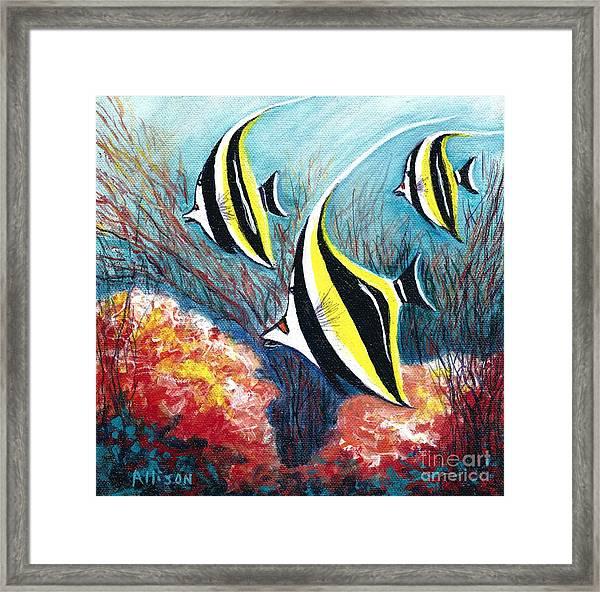 Moorish Idol Fish And Coral Reef Framed Print