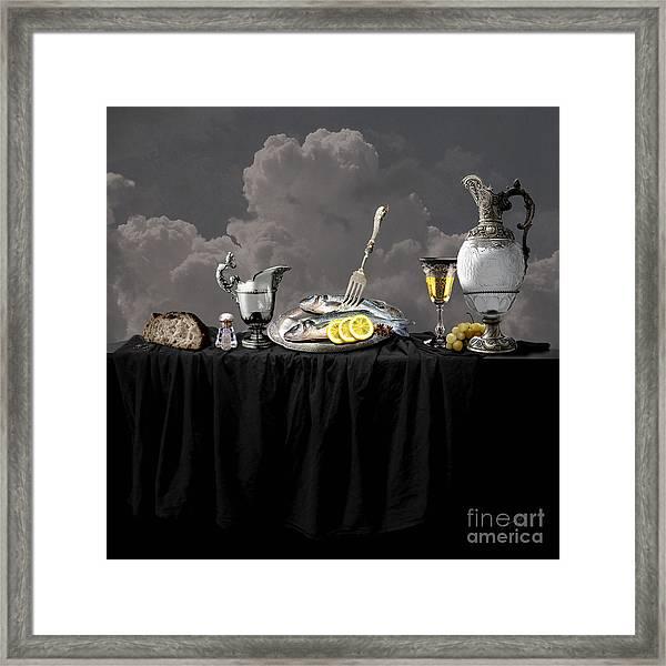 Fish Diner In Silver Framed Print