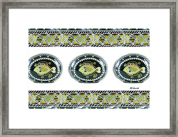Fish Pysanky White Framed Print
