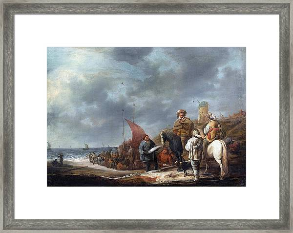 Fish Sellers At The Beach Framed Print