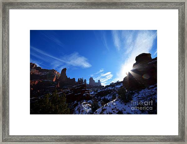 Framed Print featuring the photograph Fisher Towers by Kate Avery