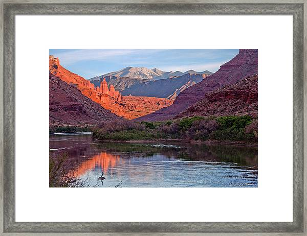 Fisher Towers Sunset Reflection Framed Print
