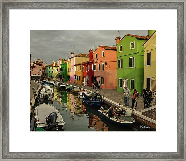 Fisherman At Work In Colorful Burano Framed Print