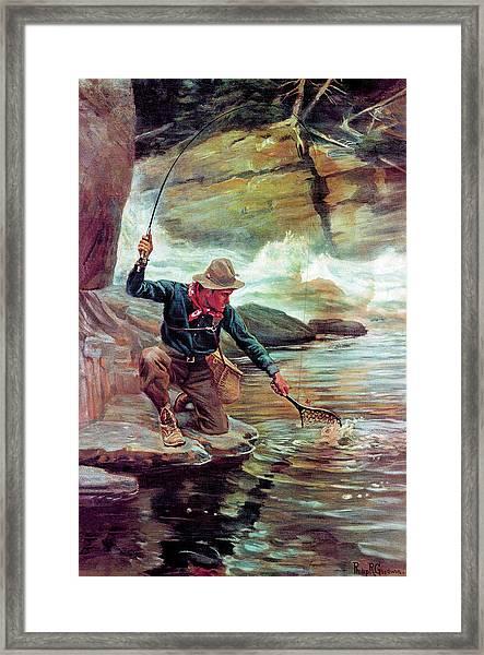 Fisherman By Stream Framed Print