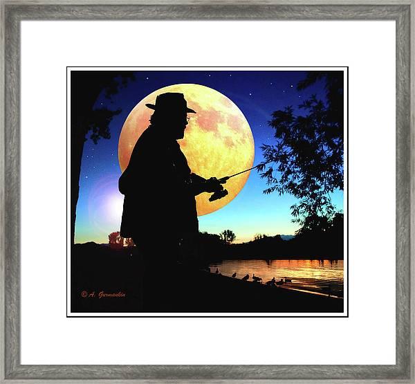Fisherman In The Moolight Framed Print