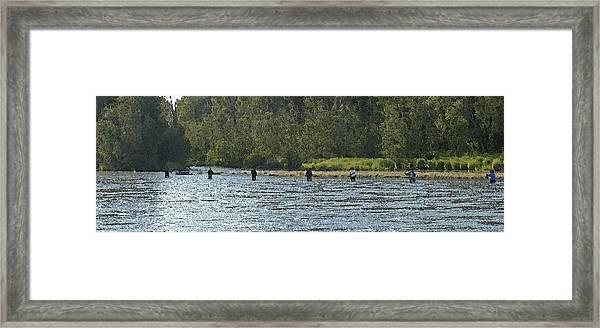 Fisherman Lineup Kenai River Framed Print by Mary Gaines