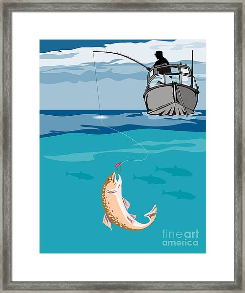 Fisherman On Boat Trout  Framed Print